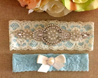 Blue Lace Bridal Garter- Wedding Garter Set - Crystal Rhinestone Garter and Toss Garter Set on Ivory and Blue Lace