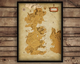 """Game of Thrones Map, Westeros map, Game of Thrones Poster, Westeros Map fine art, map of westeros, up to 30"""" x 40"""""""