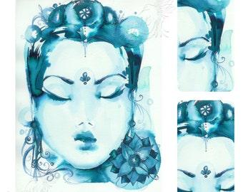 Quan Yin (Kwan Yin) ~ Goddess of Compassion and Mercy - Fine Art print by Roberta Orpwood