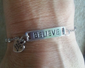 Silver Believe Bracelet -with Made with Love dangle charm