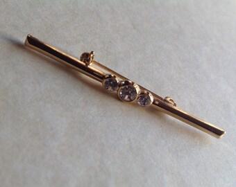 Vintage triple diamante bar brooch