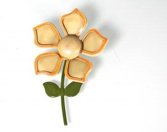 Yellow Daisy Vintage 1960s Metal Flower Pin Pop Retro Enamel Jewelry