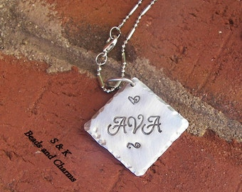Sterling silver,Hand stamped jewelry ,personalized, engraved jewelry, name necklace ,mommy necklace,custom stamped, handstamped