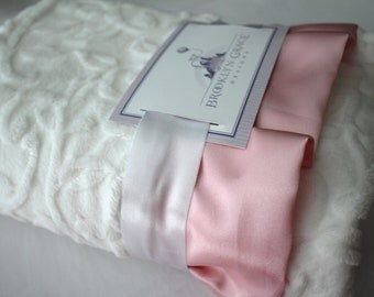 Minky Vine Embossed Baby Blanket in White with Light Pink Satin Trim - Baby Girl, Crib Bedding, Infant and Toddler