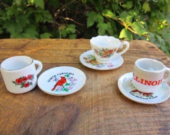 Vintage Miniature Tea Cups - Souvenir Miniature Tea Cups