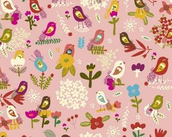 Organic Petit Fleur Blush Birds Fabric