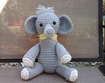 Elliott the elephant wants to be adopted, crocheted elephant, stuffed animal, zoo animal