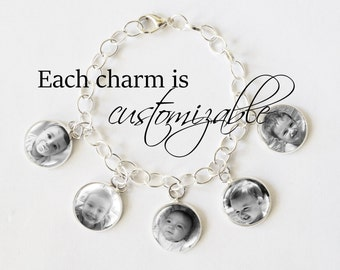 Gifts for Mom - Gifts for Grandma - Photo Charm Bracelet, personalized charm bracelet, personalized gifts,  personalized gifts jewelry charm