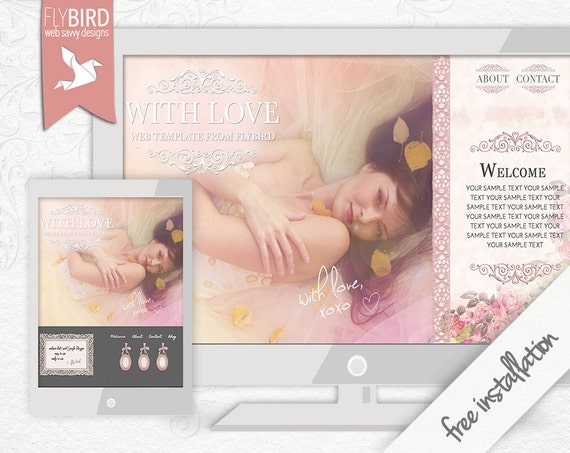 """Website design """"With Love"""" for Blogger - fully installed, ready to use website and social media icons"""