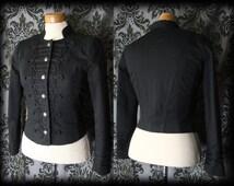 Goth Black Braid DELIRIUM Fitted Military Jacket Coat 12 14 Victorian Steampunk