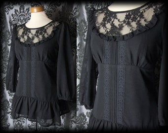 Gothic Black Lace Bib TRAGEDY OF LOSS Tie Blouse Tunic 8 10 Victorian Vintage