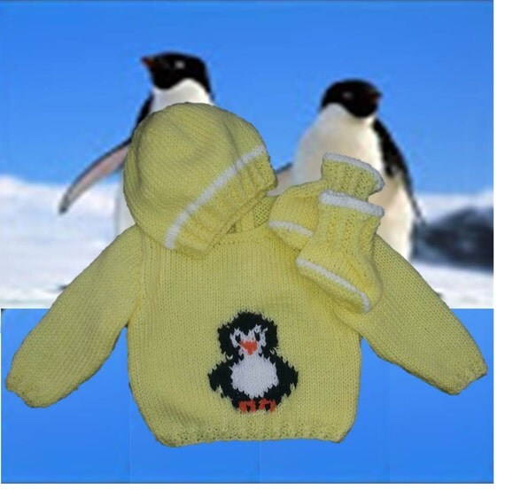 Free Knitting Pattern For Baby Cardigan : Knitting Pattern, Baby knitted Outfit, Penguin Sweater, Baby Knitting Pattern...