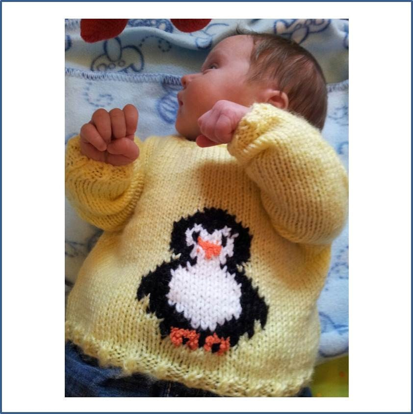 Knitting Pattern, Baby knitted Outfit, Penguin Sweater, Baby Knitting Pattern...