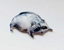 Free shipping Raccoon brooch, raccoon jewelry, Animal brooch animal jewelry clay raccoon gifts under 25, Black friday, Ciber Monday (0009)