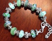 Cancer Awareness Jewelry, Bracelet, Cancer Awareness Bracelet, Lampwork Beads, European Bead Bracelet, Green Murano Glass Bead Bracelet
