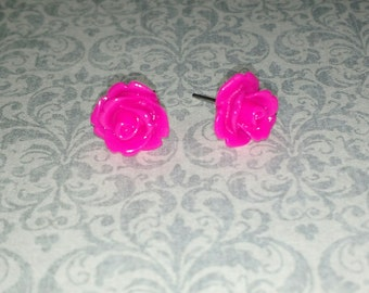 Hot Pink Rose Post Earrings