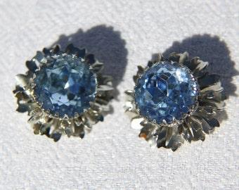 Vtg 60s Large Blue Rhinestone Earrings