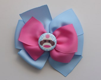 Blue and Pink Sock Monkey Hair Bow