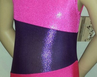 Girls Gymnastics Leotard, Sizes 2 to 12 - Hot Pink & Purple Asymmetrical Gymnastics and Dance Leotard, Gymnast Leotard, Dance Leotard, Kids