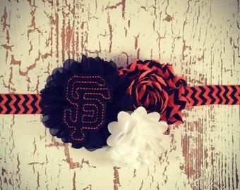 SF Giants Headband, Giants Headband, Flower Headband, Baby Giants, Girls SF Giants, Newborn Giants, Baseball Headband,