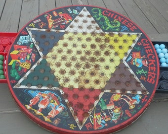 Antique Vintage Chinese Checkers Game - with the pieces!