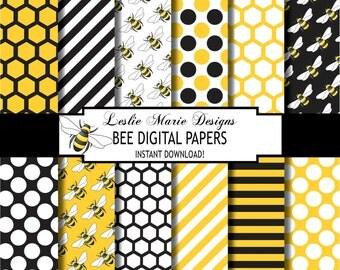 BUMBLEBEE Digital Papers - INSTANT Download - Bee, Bumblebee, Honeycomb