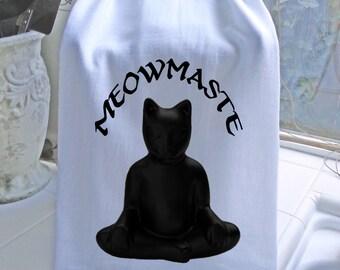 Tea towel - MEOWMASTE  - Buddha Kitty Meditating Tea Towel- super cute flour sack towel