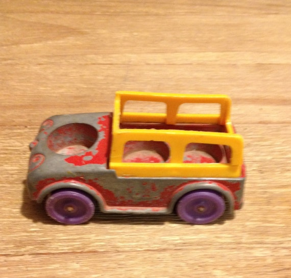 Vintage 1967 Tootsie Toy Red Metal Toy Truck Car With Yellow