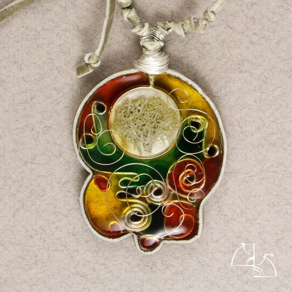 Spring mood. Jewelry Set. Colorful bright pendant and earrings. Jewerly resin copper wire, hand painted.