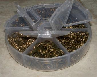 1 Box (1800) Asstd Open Jump Rings Bronze 4MM - 10MM
