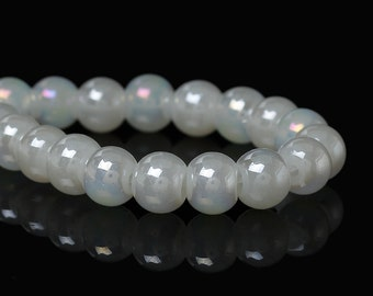 6MM Off White Luster AB Glass Beads