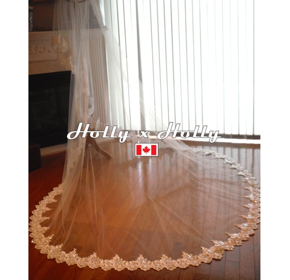 Lace wedding veil, Lace cathedral veil, long wedding veil, mantilla wedding veil, bridal veil, ivory veil