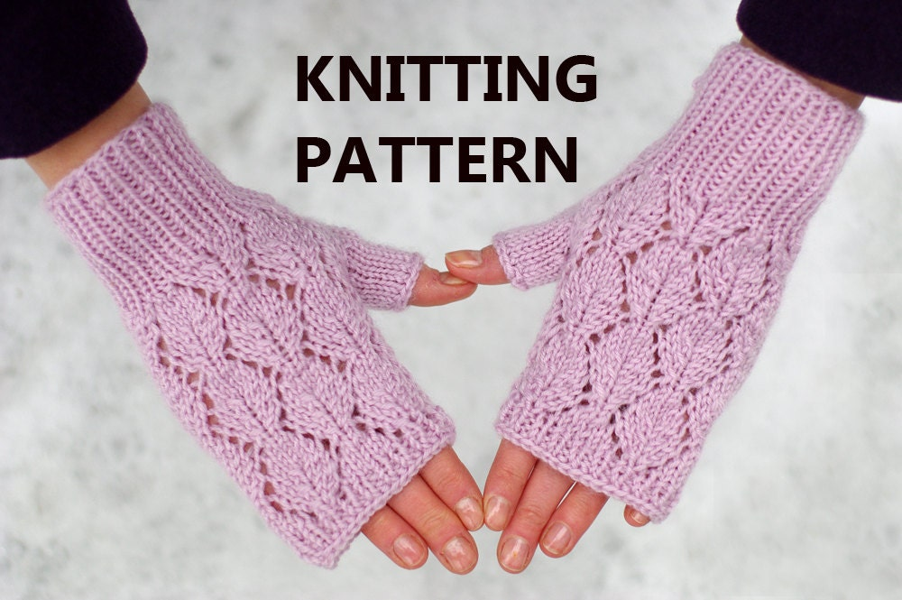 Lace Mittens Knitting Pattern : Lace fingerless mittens knitting pattern women mitts knitting