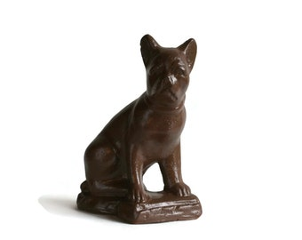 Brown Dog - Vintage Chalkware Dog - Upcycled Painted Dog - Vintage Dog - French Bulldog - Bulldog