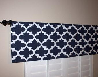 Kitchen Valance Curtains - Navy Blue Valance - Kitchen Window Valance - 50x16 Valance - Window Treatments