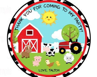 Printable Farm animal Favor Tags