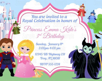 Printable Sleeping Beauty Princess Aurora Birthday Party Invitation plus FREE blank matching printable thank you card