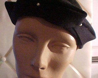 1950 Black Felt Hat Trimmed with three pearls.