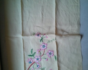 Vintage Yellow Linen Table or tea towel with cherry blossom flowers embroidered