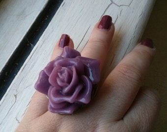 Handmade Big Pink Resin Rose Bud Adjustable ring