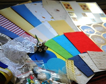 Excellent all occasion card making kit with two die cut topper sheets, luxury papers, lace scraps, sentiments & embellishments.