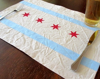 Chicago flag inspired placemats - hand painted canvas placemats