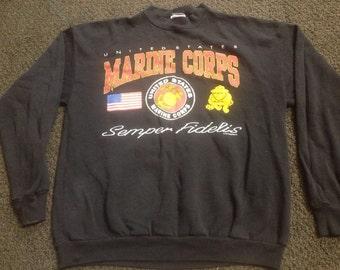 Vintage Mens USMC Marine Corps Crewneck Sweatshirt Sz:L