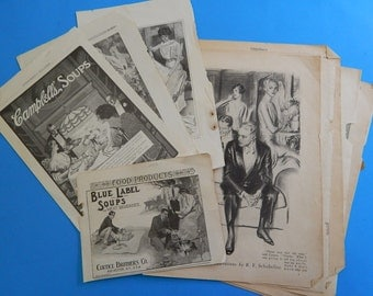 13 Magazine Pages/Ads Campbell's + Blue Label Soup Victor Ammo College Humor