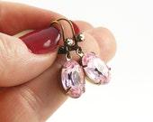 Blush Pink Earrings, Pastel Pink Crystal Earrings, Handmade Vintage Style Jewellery
