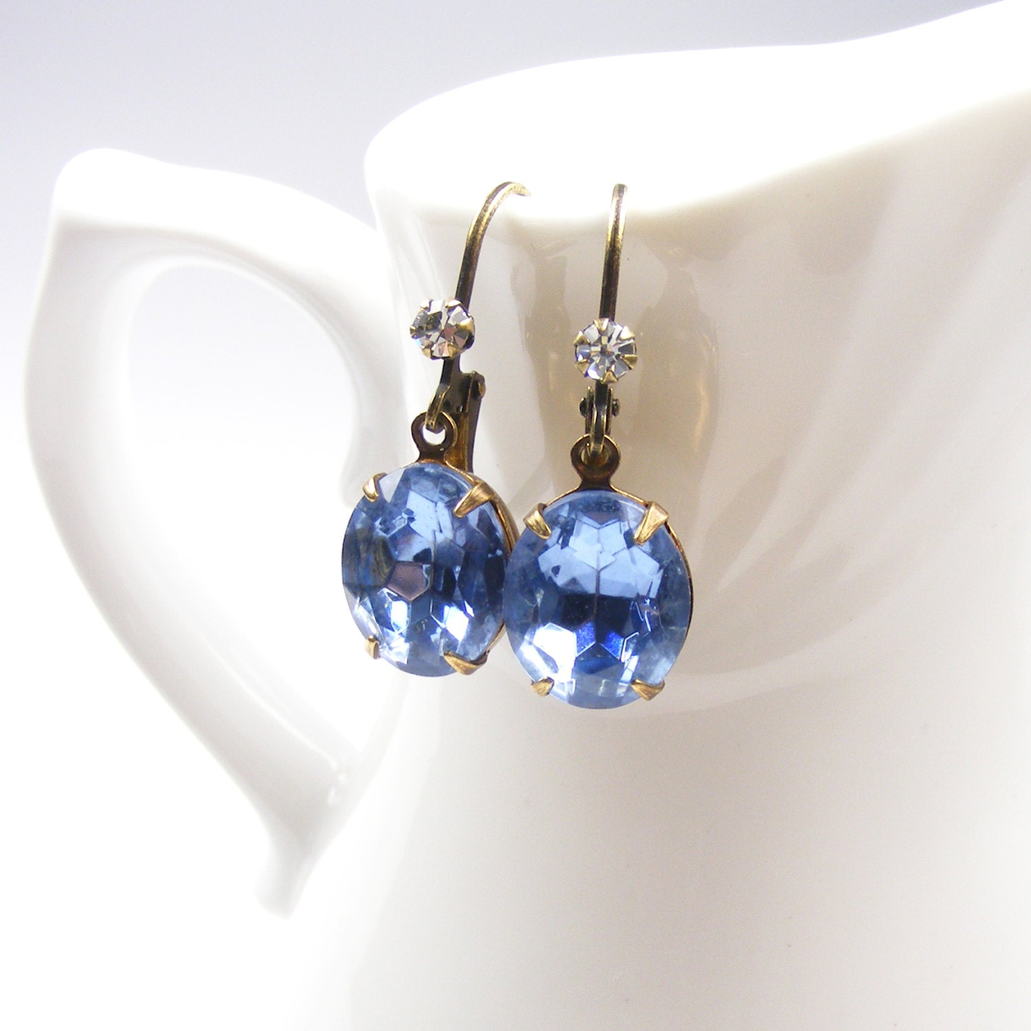 Blue Jewel Earrings, Light Sapphire Blue 1950s Vintage Crystal Earrings, Downton Abbey Inspired Jewelry