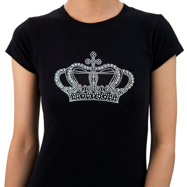 crown rhinestone tshirts for women by blingblingcountry