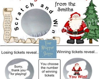 Christmas Santa Game Scratch off Tickets Game Personalized Party Favors