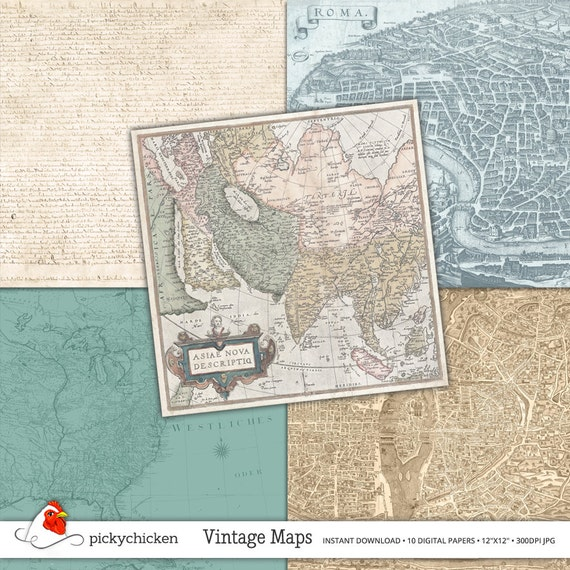 Vintage maps digital papers 2 10 pages of scrapbooking this is a digital file gumiabroncs Gallery