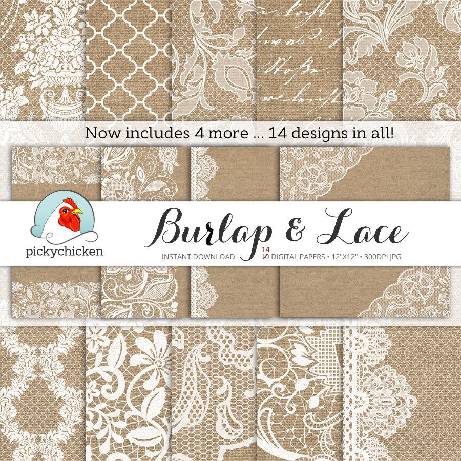 Wedding Paper: Burlap Wedding Paper Burlap & Lace Digital Paper Rustic